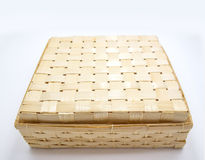 Bamboo rattan box background. Close up bamboo rattan box package for background Royalty Free Stock Photo