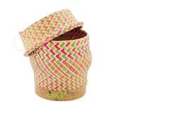 Bamboo rice box thai style. Isolated on white background Stock Images