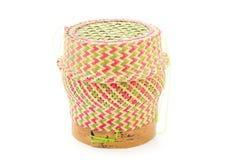 Bamboo rice box thai style. Isolated on white background Royalty Free Stock Image