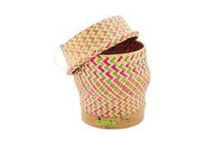 Bamboo rice box thai style. Isolated on white background Stock Image