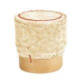 Bamboo rice box thai style on white. Background Royalty Free Stock Image
