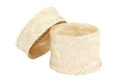 Bamboo rice box thai style on white. Background Stock Photos