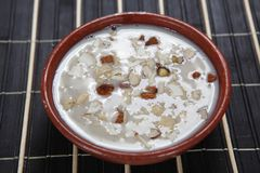 Bamboo rice Pal payasam. Bamboo rice Palpayasam is a south Indian sweet dish, made from flowered Bamboos also known as Moongil arisi in Tamil, Milk and nuts, its Royalty Free Stock Images