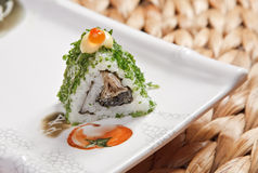 Bamboo roll with caviar. On top Royalty Free Stock Images