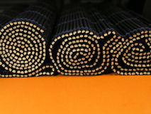 Bamboo rolls. Rolled bamboo mats Royalty Free Stock Photo