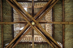 Bamboo Roof. The inside ceiling and roof of a South American bamboo hut Stock Photos