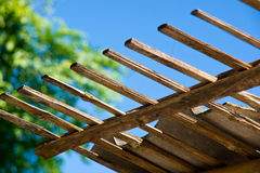 Bamboo roof. Closed up of bamboo roof and blue sky backgruand stock image