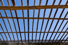 Bamboo roof. Closed up of bamboo roof and blue sky backgruand royalty free stock photos