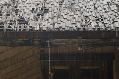 Bamboo roof in rainy day. Royalty Free Stock Photos