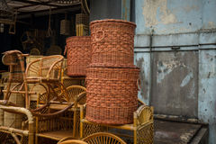 Bamboo rotan handmade traditional object handicrafts stack in lenteng agung jakarta indonesia Stock Photography