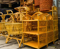 Bamboo rotan rattan handmade traditional object handicrafts stack in lenteng agung jakarta indonesia Royalty Free Stock Image