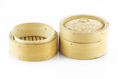 Bamboo round container shape for steaming asian food Stock Photo