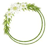 Bamboo Round Frame With Flowers Royalty Free Stock Photos