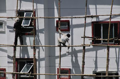 Bamboo scaffold, work safety Royalty Free Stock Photos