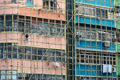 Bamboo scaffolding of old buildings Royalty Free Stock Image