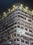 Bamboo Scaffolding on Residential Old Apartment. In Hong Kong China Stock Photography