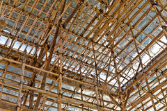 Bamboo scaffolding. A standard usual method of building and construction in hong kong Stock Photography