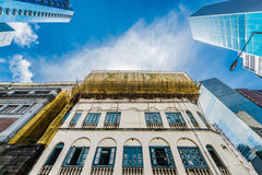 Bamboo scaffolds street construction Soho Central Hong Kong Royalty Free Stock Image