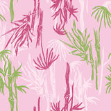 Bamboo Seamless Pattern on pink background. Tropical wallpaper, nature textile print. Stock Photos