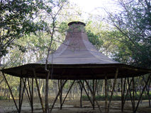 Bamboo shed. Picture of bamboo shed in park stock photo