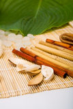 The bamboo and shell of an exotic fruit. Lays on a mat Stock Photos