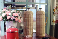 Bamboo shell thermos bottle Royalty Free Stock Images