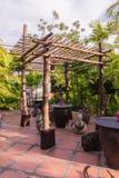 Bamboo shelter at rest area of botanic garden. Thailand Royalty Free Stock Photos