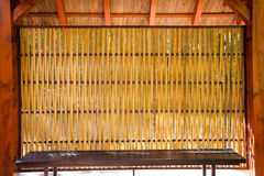Bamboo shelter sitting Royalty Free Stock Photography