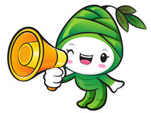 Bamboo shoot Character the Left hand is holding a loudspeaker. N Royalty Free Stock Image