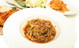 Bamboo shoot spicy slad cuisine spicy pork salad Royalty Free Stock Photo