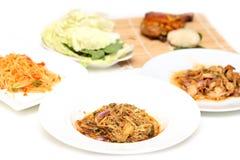 Bamboo shoot spicy slad cuisine spicy pork salad Stock Photos