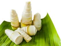 Bamboo shoots peel on banana leaf Stock Photography