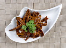 Bamboo shoots in small bowl ready to eat Stock Image