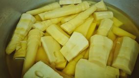 Bamboo shoots sold in the market in Asia stock photography