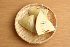Bamboo shoots in a wicker basket. 。three Stock Images