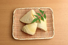 Bamboo shoots in a wicker basket. 。three Royalty Free Stock Image