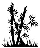 Bamboo silhouette. Bamboo bush silhouette with some grasses Stock Images