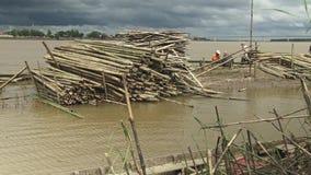 Bamboo slats, mekong, cambodia, southeast asia stock video