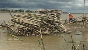 Bamboo slats, mekong, cambodia, southeast asia stock video