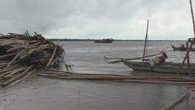Bamboo slats, mekong,  cambodia, southeast asia stock video footage