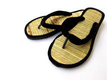 Bamboo Slippers. A handmade bamboo and velvet slippers,it is made in india Royalty Free Stock Photography