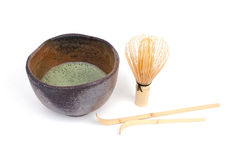 Bamboo spoons and green tea Stock Photo