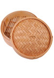 Bamboo steam basket Royalty Free Stock Photography