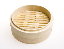 Bamboo steamer. On white background Royalty Free Stock Image