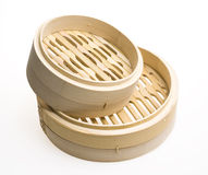 Bamboo steamer. On white background Stock Images