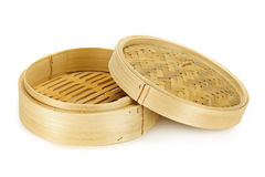 Bamboo steamer. Round bamboo steamer isolated on white background with lid Royalty Free Stock Photography
