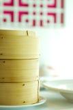 Bamboo steamer basket in set menu Stock Photos