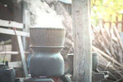 Bamboo steamer Put on a pot of boiling water Royalty Free Stock Photography