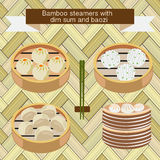 Bamboo steamers with dim sum and baozi. Vector set of Bamboo steamers with dim sum and baozi-illustration Stock Photo