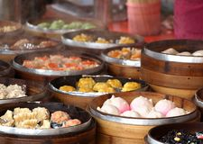 Bamboo Steamers with Dim Sum Dishes Royalty Free Stock Photography